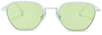 Linda Farrow X Alessandra Rich Rectangular Sunglasses And Chain - Green