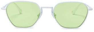 Linda Farrow X Alessandra Rich Rectangular Sunglasses And Chain - Womens - Green