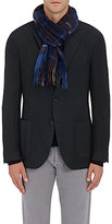 Drakes Drake's Men's Plaid Wool-Angora Scarf-BLUE