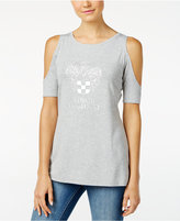 Vince Camuto Cold-Shoulder Embossed Logo T-Shirt, A Macy's Exclusive Style