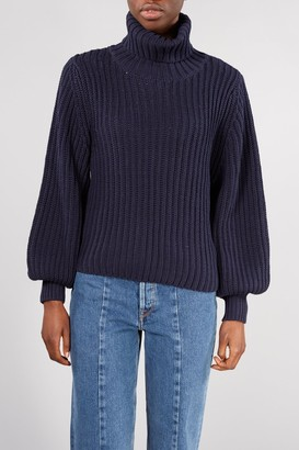 Selected NAVY FEMMI BALLOON ROLL NECK KNIT - LARGE