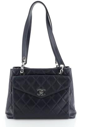 Chanel Front Pocket Shoulder Bag Quilted Caviar Medium