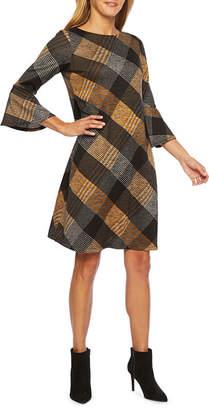 Studio 1 3/4 Sleeve Plaid Shift Dress