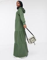 Asos Design DESIGN maxi hoodie sweat dress with tiered skirt