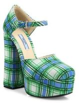 Prada Plaid Ankle-Strap Platform Pumps