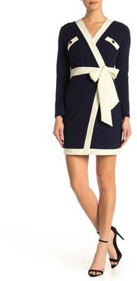 Alexia Admor Contrast Trim Crepe Wrap Dress