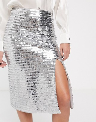 Glamorous midi skirt with split front in sequin