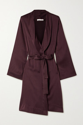 Skin Tina Washed Silk-blend Satin Robe - Burgundy