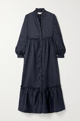 Sea Lucy Tiered Ramie Midi Dress - Midnight blue