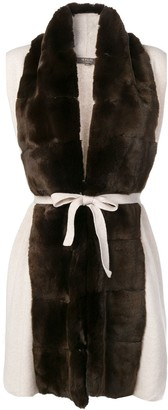 N.Peal fur collar knit gilet