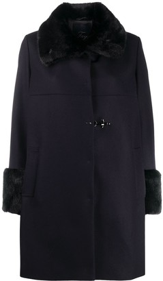 Fay Faux Fur-Trim Single-Breasted Coat