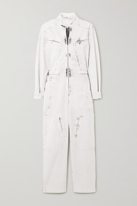 Stella McCartney Zip-embellished Acid-wash Denim Jumpsuit - Cream