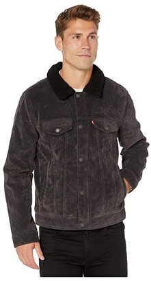 Levi's Sherpa Lined Two-Pocket Trucker (Charcoal) Men's Clothing