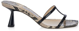 Jimmy Choo Ria Square-Toe Snakeskin-Embossed Leather Mules