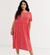 Wednesday's Girl Curve midi dress in smudge spot print