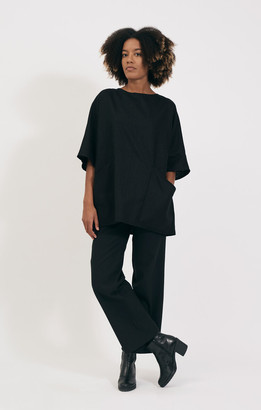 Shio Black Tunic Dress - S/M | black - Black/Black