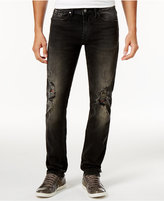 GUESS Men's Slim-Straight Fit Stretch Destroyed Antique Gray Jeans