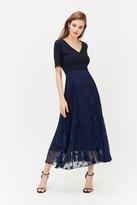 Coast Solid Bodice Pleated Sparkle Skirt Dress