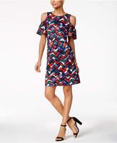 Nine West Printed Cold-Shoulder Dress