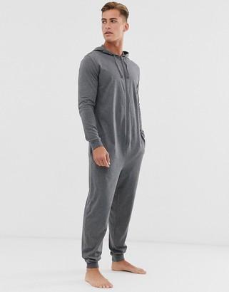 Asos Design DESIGN hooded lounge onesie in charcoal marl-Grey