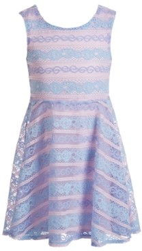 Epic Threads Toddler Girls Bow-Back Striped Lace Dress, Created for Macy's