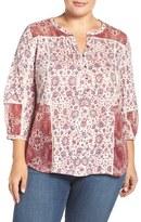 Lucky Brand Plus Size Women's Mixed Floral Print Split Neck Top