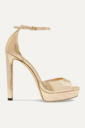 Jimmy Choo Pattie 130 Metallic Lizard-effect Leather Platform Sandals - Gold