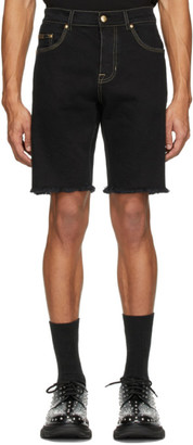 Versace Black Denim Icon Shorts
