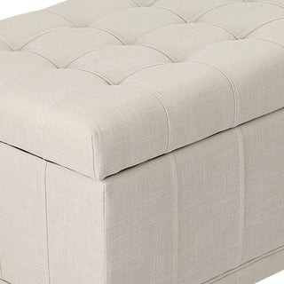 Adeco Faux Rectangular Tufted Lift Top Storage Ottoman Bench Footstool with Solid Wood Legs Beige