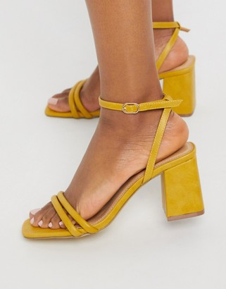 Truffle Collection thin strap mid heeled square toe sandals in ochre