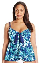 Maxine Of Hollywood Women's Plus-Size Florida Keys Full Tankini with Tie Front