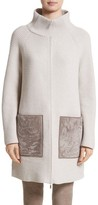 Lafayette 148 New York Women's Wool & Cashmere Herringbone Stitch Cardigan With Genuine Shearling Pockets