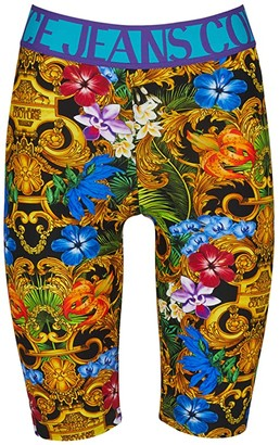 Versace Bike Shorts w/ Logo Tape Waistband (Tropical Baroque) Women's Shorts