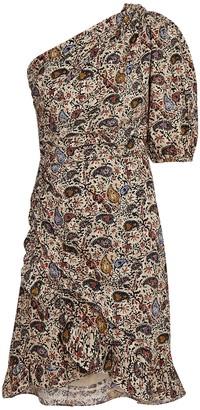 Etoile Isabel Marant Esther Paisley One-Shoulder Dress