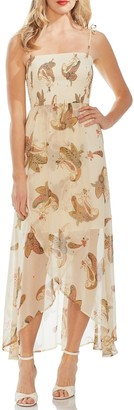 Vince Camuto Print Smocked-bodice Dress