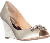 Badgley Mischka Dara Peep-toe Wedge Heels, Ivory.