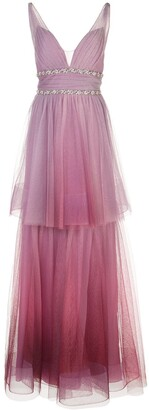 Marchesa Ombre Two-Tiered V-Neck Dress
