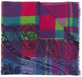 Etro checked paisley print scarf