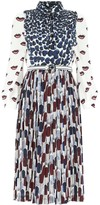 Prada Pleated Contrast Print Midi Dress