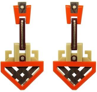 Gissa Bicalho Handmade Acrylic Earrings Marajo Orange