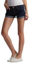 Aeropostale Womens Dark Wash Cuffed Denim Midi Shorts Blue