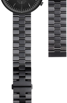 Uniform Wares Men's linked watch bracelet with butterfly clasp in PVD black
