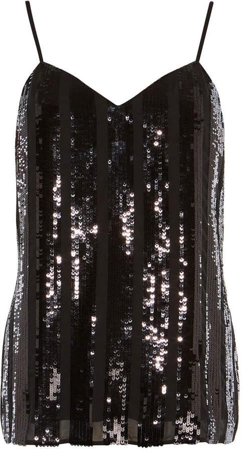 Karen Millen Sequin Stripe Cami Top