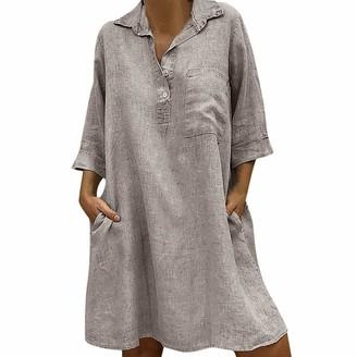 Esailq Women's Blouse Women Dresses ESAILQ Solid Boho Turn-Down Collar Dress 3/4 Sleeve Casual Pocket Button Knee-Long Dress Beach Dresses Sundress(Gray UK-18/CN-3XL)
