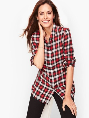 Talbots Classic Cotton Shirt - Red Pop Plaid