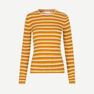 Samsoe & Samsoe Inca Gold Viscose Striped Skinny Rib Jolena Sweater - viscose | small