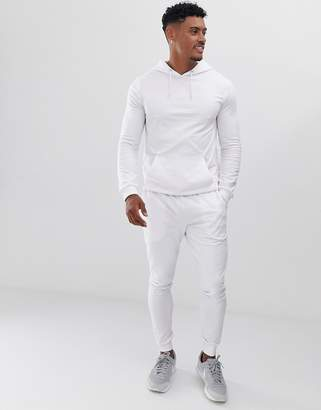 Asos Design DESIGN muscle tracksuit with hoodie in white