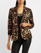 Charlotte Russe Leopard Ruched Sleeve Blazer