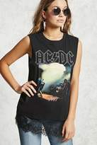 Forever 21 ACDC Lace-Hem Muscle Tee
