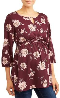 Oh! Mamma Maternity Floral Elastic Empire Waist Tunic Top